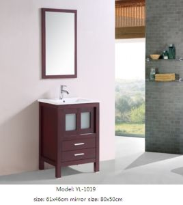 Bathroom Cabinet Wooden Furniture Vanity with Ceramic Basin