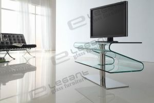 Modern Curved Glass TV Stand and TV Cabinet (T038) pictures & photos