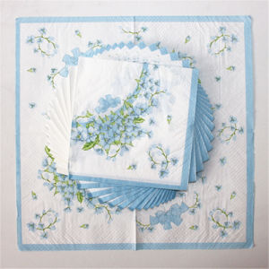 Disposable Party Paper Dinner Napkin with Blue Flower Printed pictures & photos