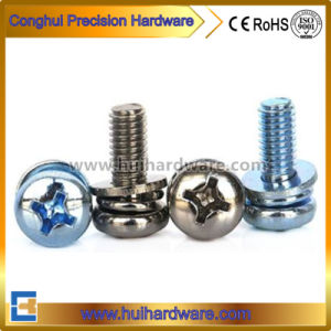 Carbon Steel Phillips Pan Head Sems Screw with Spring & Flat Washers pictures & photos