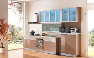 Pole Island Style High Gloss UV Kitchen Cabinet (ZX-004) pictures & photos