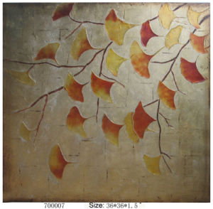Handmade New Modern Abstract Golden Yellow and Red Ginkgo Leaves Oil Painting (LH-700007) pictures & photos