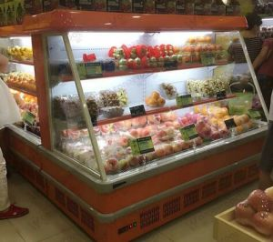 Upright Double-Glass Door Fruit Display Refrigerator pictures & photos