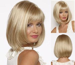 12 Inch Short Blonde Bob Fiber Wig for Lady