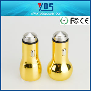 Colorful Yellow Metal Double USB Car Charger 2.4A pictures & photos