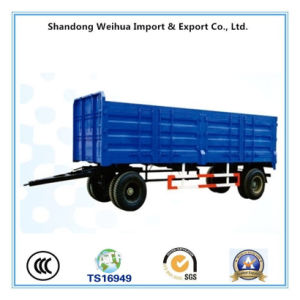 Truck Semi Trailer of 2 Axles High Strength Side Wall Full Trailer with Drawbar pictures & photos
