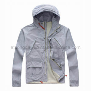 Gray 100% Cotton Men′s Casuall Jacket with Hat (GT72051) pictures & photos