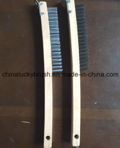 Wooden Base Steel Wire Brush with Schleifer for USA/European (YY-496) pictures & photos