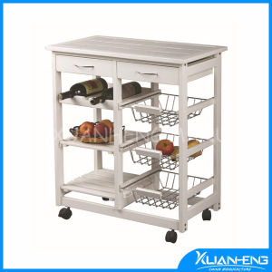 Solid Wood Kitchen Trolley with Two Drawers pictures & photos