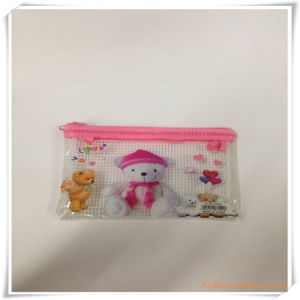 Bear Cartoon Mesh and PVC Zipper Pencil Bag/Case for Promotion pictures & photos