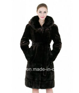 Women′s Mink Cashmere Faux Fur Overcoat with Hood pictures & photos