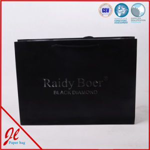 Black Luxury Shopping Carrier Paper Bags with Golden Twisted Handle pictures & photos