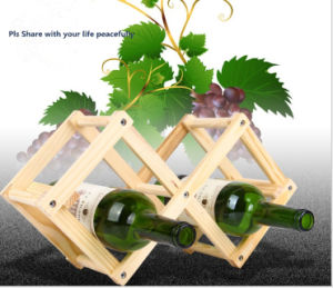 Creative Hot Sales Foldable Solid Wood Wine Display Stand pictures & photos