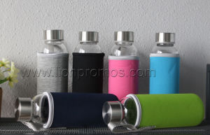 Fashional Sports Gift Portabale Glass Bottle with Neoprene Cover pictures & photos