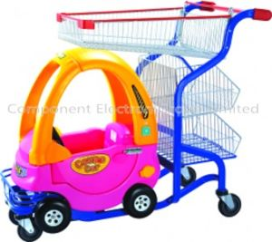 Hot Sell Good Cheap Zinc with Powder Plastic Basket Cartoon Child Shopping Cart with PU Wheel (YB-G001) pictures & photos