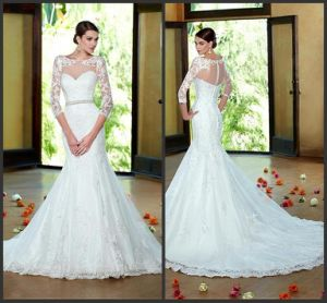 Illsion 3/4 Sleeves Wedding Dress Tulle Lace Bridal Gown Wd152 pictures & photos