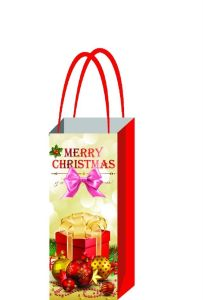 New Design Christmas Day Wine Bag with Handle for Single Wine Bottle