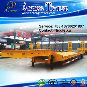 2-3 Axle 30-40t Low Flat Semi Trailer (concave beam pumping structure exposed tires) (LAT9321TDP) pictures & photos