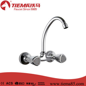 Two Handle Polished Brass Kitchen Faucet (ZS64502)