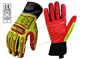 Ce 4132 Seibertron High-Vis Hrig Rigger Gloves Impact Protection Oil and Gas Safety Gloves