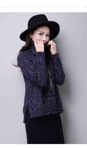Young Ladies High Neck Thick Raglan Sleeve Loose Knit Sweater pictures & photos