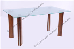 Tempered Glass Dining Table MDF with Paper Painting (ST-5199)