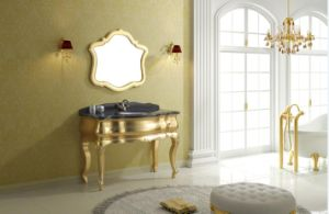 Gold Paper Classical Bathroom Cabinet