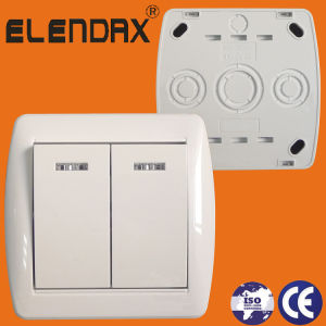 European Standard Wall Mounted Two Gang One Way Switch with LED Light (S8102) pictures & photos