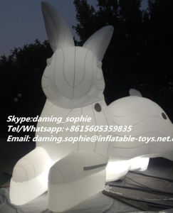 Giant Inflatable White Rabbit Mascot for Club Decoration