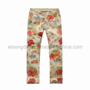 Flower Printed 100% Cotton Men′s Trousers (GV135) pictures & photos