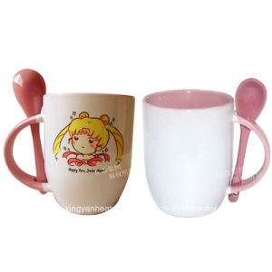 Hot Sale 11oz Pink Ceramic Mug with Spoon pictures & photos