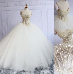 Strapless Party Prom Gowns Tulle Crystals Pearls Wedding Dress E17919 pictures & photos