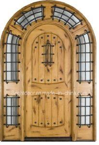 Round Top Steel Grill Exterior Oak Wood Door for House pictures & photos