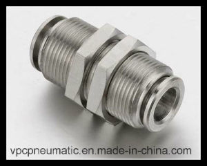 Brass Nickel Plated Bulkhead Connectors Push in Fittings for Tube pictures & photos