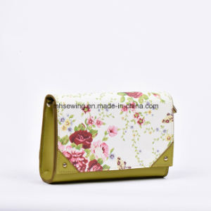 Elegant Small PU Leather Bag Clutch Purse with Flower Print on Front and Back pictures & photos