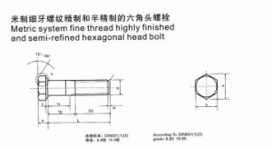 Metric System Fine Thread Highly Finished and Semi-Refined Hexagonal Head Bolt pictures & photos