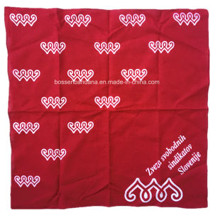 Factory OEM Produce Custom White Logo Printed 22*22 Inch Red Cotton Bandanna pictures & photos