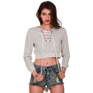 Custom High Quality Black Cotton Fleece Crop Hoodies for Women (ELTHSJ-924) pictures & photos