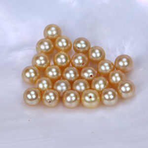 Freshwater Pearl Round Shape Dyed Color Golden Pearl pictures & photos
