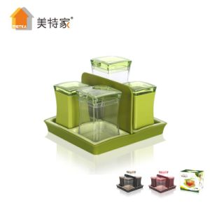 Metka Kitchen Supplies New Product Plastic Square Cruet 4 Cans pictures & photos