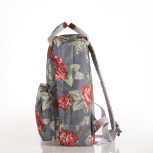 Retro Floral Patterns Waterproof PVC Canvas Grey Backpack (23199) pictures & photos