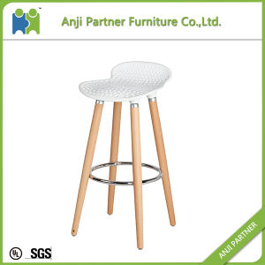 Colorful Plastic Stack Able Bar Stool with Beech Wood Legs (Barry) pictures & photos
