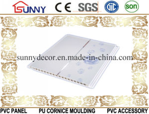 Printing PVC Ceiling Wall Panel of Middle Groove with Two Golden Lines Cielo Raso De PVC pictures & photos