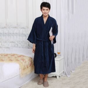 Wholelesale Lapel Soft Cotton Plain Men Terry Bathrobe pictures & photos