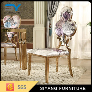 Hotel Furniture Gold Stainless Steel Shivering Leather Dining Chair pictures & photos