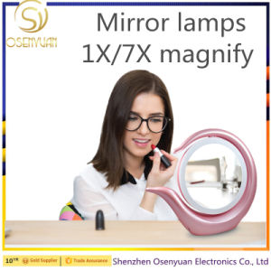 LED Lighted Cosmetic Makeup 1X/7X Magnification Table Vanity Mirror pictures & photos