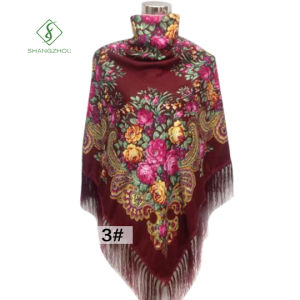 Lady Fashion Square Scarf with Tassel Peony Printed Shawl Wholesale pictures & photos