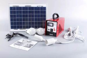 Portable Mini Solar System 10W/20W/30W/Mono Solar Panel/ LED Lamp/USB Cable/ Battery Charger/ Emergency Lighting System pictures & photos
