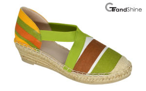 Women′s Printed Canvas Espadrille Wedge Shoes pictures & photos