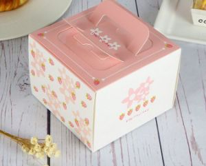 Custom Cheese Cake Box Loaf Cake Boxes with Handle Cake Gift Box for Wedding pictures & photos